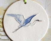 Great Blue Heron Ceramic-Watercolor wall or tree ORNAMENT plus free gift wrap, original, 100% handmade