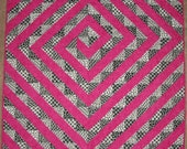 Pink and Black Handmade Modern Lap Quilt  55 x 45 inches