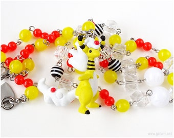 Mega Ampharos Pokemon Necklace, Beaded Rosary Chain, Pokemon Jewelry, Gamer Gifts, OOAK