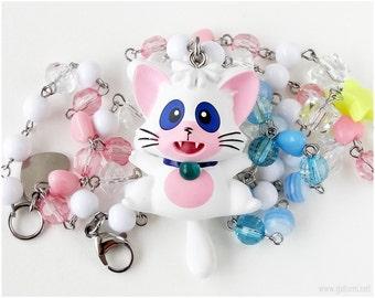 Fairy Kei Necklace, Creamy Mami Cat Figure, Beaded Chain, Kawaii Jewelry, Decora, Magical Girl, OOAK