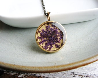 Purple Flower Necklace Queen Annes Lace Botanical Jewelry Naturalist Garden Gift Bridal Plant Preserved Resin Jewelry Real Dried