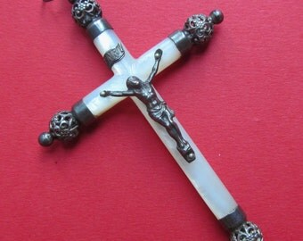 Silver And Mother Of Pearl Antique French Crucifix Confirmation Cross Catholic Pendant