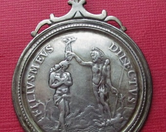 Antique Saints Peter And Paul Silver Religious Medal Jesus John The Baptist Catholic Pendant Circa 1700 s SS80