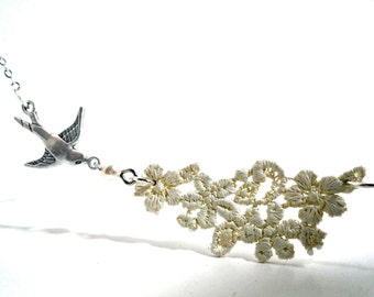 Lace and bird swallow necklace in cream and silver