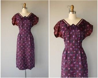 Vintage 1950s Wiggle Dress | 50s Dress | 1950s Purple Sheath Dress | 50s Printed Dress | 1950s Dress
