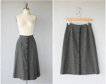Vintage 1970s Skirt | 70s Skirt | Vintage Wool Midi Skirt | Gray Wool Skirt