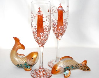 Nautical Wedding Flutes Hand Painted Champagne Flutes Personalized Glassware
