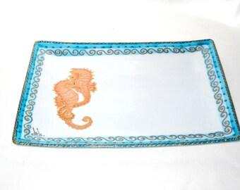 Seahorse Rectangular Platter Hand Painted Porcelain Seahorse Decor