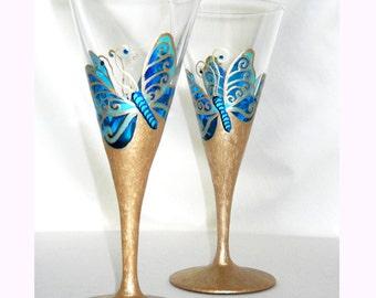 Something Blue Butterfly Wedding Custom Hand Painted Crystal Stemware