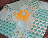 READY TO SHIP - Boy Baby Lovey - Elephant Lovie - Yellow Elephant Baby Blanket