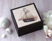 Vintage Sailboat Square Box - Sailboat Box - Masculine Man Cave Decor - Nautical Theme Box - Cape Cod Beach House Gift