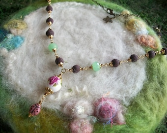 Rose Petal Bead Necklace, Handmade Organic Rose Petal Beads