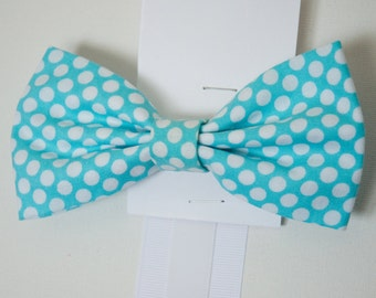 Bowtie - Baby, Toddler, and Little Boys White on Turquoise Polka Dot Print Bowtie