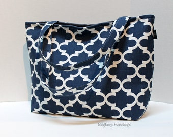 SALE - READY To SHIP - Navy Fulton Quatrefoil Tote Bag /  Diaper Tote /  Medium Bag