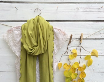 Olive Green Scarf, Extra Long Scarf, Green Scarf, Jersey Scarf, Fall Scarf, Winter Scarf, Gift Idea for Her, Scarf with Ruffles