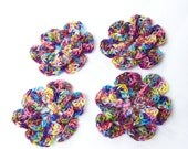 Crochet flowers set of 4 flowers small 1.5 inch cotton multi color