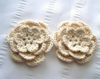 Crocheted flower 3 inch cotton set of 2 white natural colors