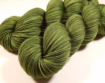 Hand Dyed Yarn - Sport Weight Superwash Merino Wool Yarn - Custom Green - Knitting Yarn, Sock Yarn, Sport Yarn, Moss Olive Green