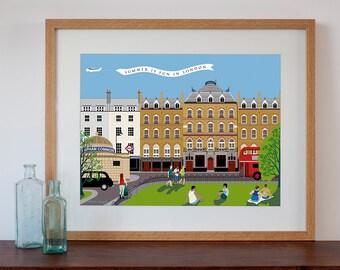 Modern Retro Art Print of Clapham Common area in London