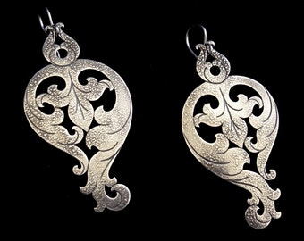 Sterling Silver Statement Earrings - Ornate Leafy Acanthus Flourish - BAROQUE SOIREE
