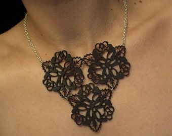 Black Leather Lace and Sterling Silver Bib Necklace - Statement Floral Bouquet - ROSE SHADOW