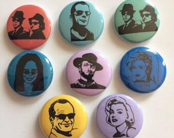 Pop Art Pop Culture Button Collection