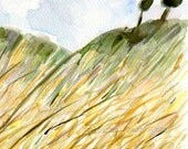 Wheat Field, fine art print, Wheat filed print, landscape print, watercolor print, harvest art, yellow, olive, modern art, home decor