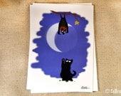 Black Cat and Fruit Bat Illustration Greeting Card - Sammy Meets Normund