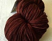 hand dyed LACE yarn Silk Treasures Walk the Plank mahogany brown handdyed superfine merino silk blend 875 yards chocolate