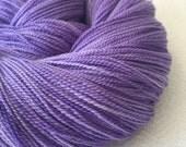 hand dyed LACE yarn Silk Treasures Avast ye Wildcats Purple lavender handdyed superfine merino silk blend 875 yards KSU EMAW