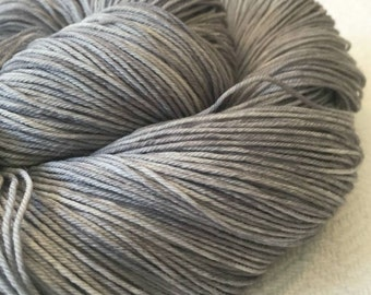 Hand Dyed Sock Weight Yarn Pieces of Eight Silver Gray grey Hand Painted sock yarn 463 yards hand dyed fingering weight yarn Treasured Toes