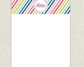 Rainbow Hello Flat Notecards
