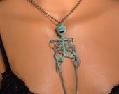 Señor Huesos - Mr. Bones - Verdigris Brass Pendant