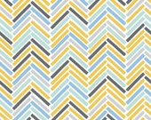 Blue and Yellow Chevron Print Fabric - 100% Cotton - Retro Road Trip - Blue, Yellow, Gray, Aqua - By the Yard