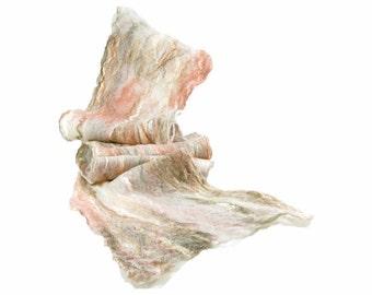 Cobweb Felted Scarf Wool Scarf Gift for Her Winter Scarf Fall Scarf Womens Scarf Lightweight Scarf Fall Fashion in Peach Cream Beige OOAK