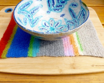 Felted wool hot mat trivet multi colored ready to ship