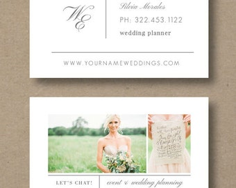 Business Cards - Wedding Planner Business Card Template - Event Coordinator Templates - Photo Marketing Templates - Design By Bittersweet