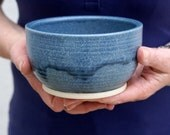 Set of two large pottery soup bowls - glazed in smokey blue