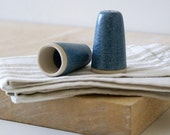 Set of two pottery bathroom light pulls - glazed in smokey blue