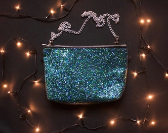 Iridescent turquoise glitter bag, clutch purse, evening bag. Hummingbird, mermaid