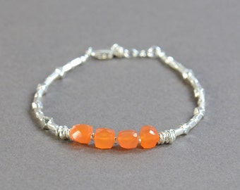 Carnelian square beads and sterling silver beads  bracelet