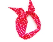 Red and White Polka Dot Wire Headband - Cotton Pattern Fabric Scarf Turban Wrap - Handmade in California by Mane Message on Etsy