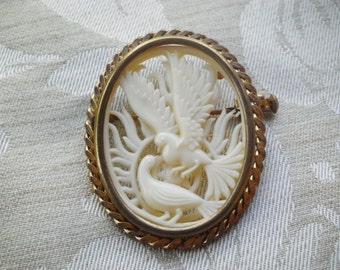 Antique French Celluloid Cut Out Faux Ivory Love Birds Pin
