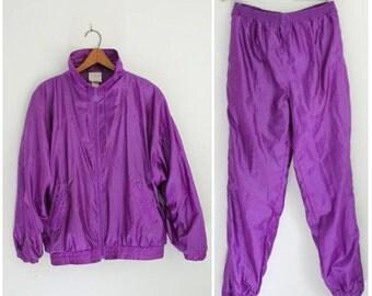 80s ADIDAS Track Suit, Vintage Adidas, Purple Track Suit, Trefoil, Track Jacket Hip Hop, Athletic, Bomber Jacket, Fresh Prince, Unisex