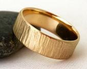 Men's Wedding Band Gold Rustic Bark Wedding Ring Unique Wedding Rings Personalized Rustic Wedding Bands Rugged Men's Ring for Him