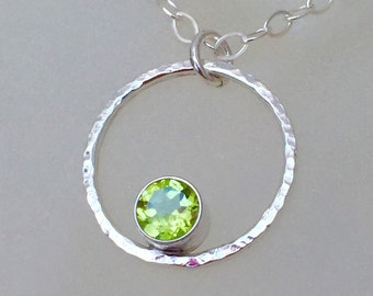 Green Peridot Necklace Silver Circle Necklace August Birthstone Necklace Minimalist Birthstone Jewelry Gift for Her/ Mom Mother's Necklace