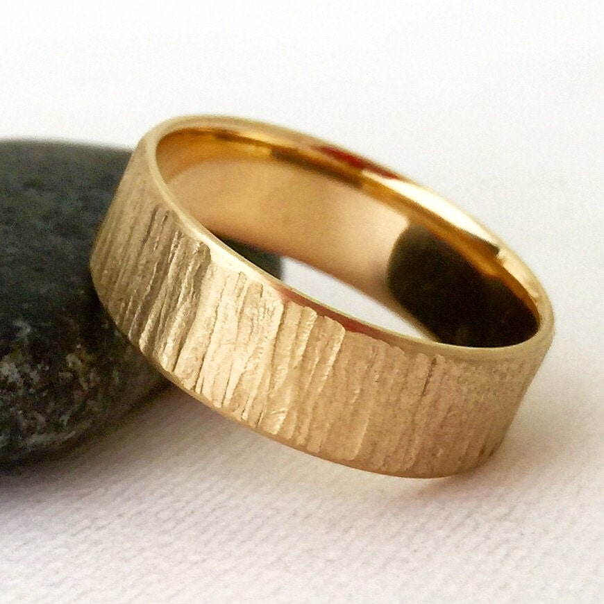 Men's Wedding Band Gold Rustic Bark Wedding Ring Unique