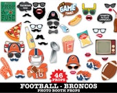 Broncos Football Photo Booth Props - Super Bowl Party- Football Party - Instant Download PDF - 46 DIY Printable Props