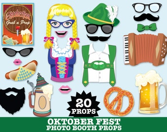 Oktoberfest Photo Booth Props, Octoberfest, German Party, German beer fest, Deutschland Party-  NSTANT Download PDF - 20 DIY Printable Props