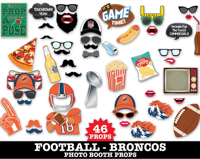 Broncos Football Photo Booth Props - Bowl Party- Football Party - Instant Download PDF - 46 DIY Printable Props